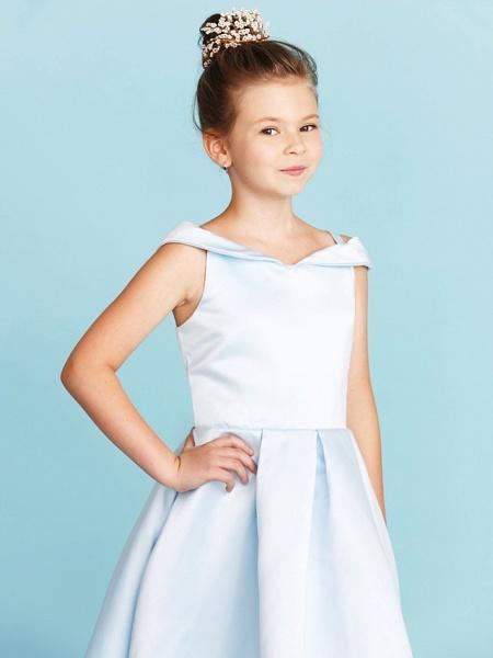 Princess / A-Line Off Shoulder Tea Length Satin Junior Bridesmaid Dress With Pleats_6