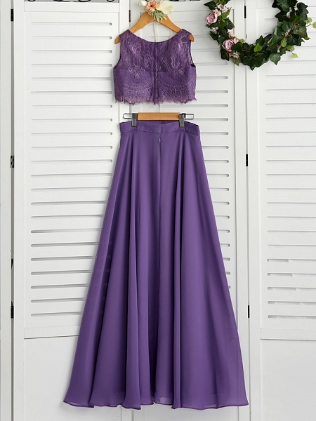 Two Piece / A-Line Crew Neck Maxi Chiffon / Lace Junior Bridesmaid Dress With Lace / Pleats_2
