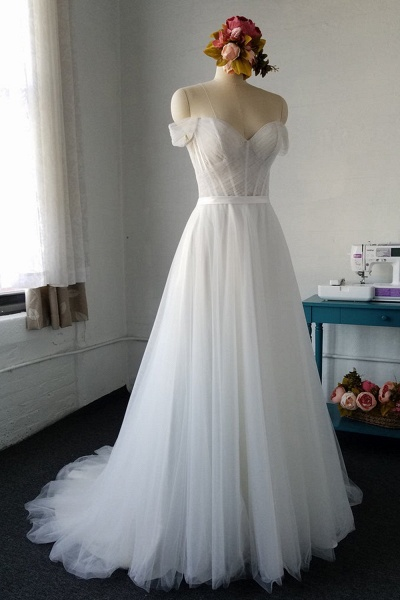 SD1958 Off The Shoulder Tulle Sweetheart Wedding Dress