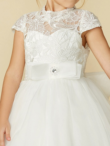Ball Gown Floor Length Wedding / First Communion Flower Girl Dresses - Lace / Tulle Short Sleeve High Neck With Lace / Sash / Ribbon / Bow(S)_13