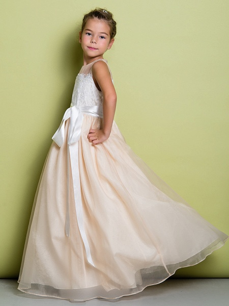 A-Line Floor Length Lace / Organza Sleeveless Jewel Neck With Lace_5