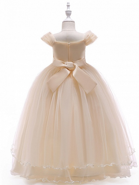 Ball Gown Floor Length Wedding / Party Flower Girl Dresses - Tulle Sleeveless Off Shoulder With Bow(S) / Solid / Tiered_8