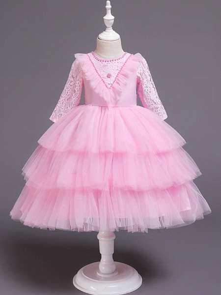 Princess / Ball Gown Knee Length Wedding / Party Flower Girl Dresses - Tulle 3/4 Length Sleeve Jewel Neck With Bow(S) / Beading / Cascading Ruffles_5