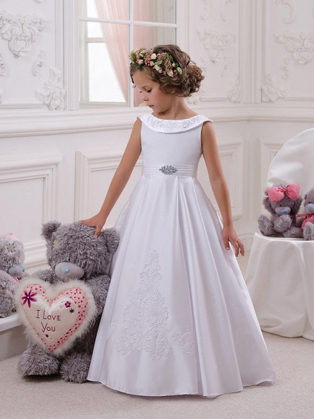 Princess Floor Length Christmas / Birthday / First Communion Flower Girl Dresses - Mikado / Cotton Sleeveless Boat Neck With Appliques / Crystals / Rhinestones_2