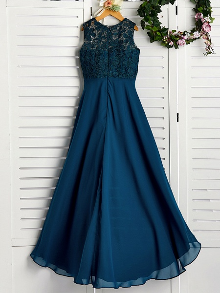 A-Line Jewel Neck Asymmetrical / Tea Length Chiffon / Lace Junior Bridesmaid Dress With Lace_2