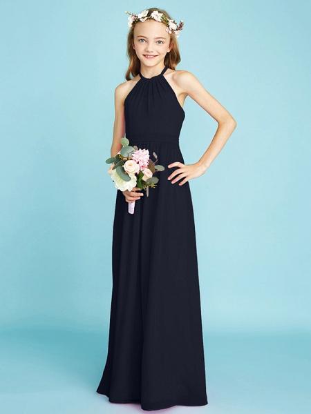 A-Line Halter Neck Floor Length Chiffon Junior Bridesmaid Dress With Sash / Ribbon / Natural_37