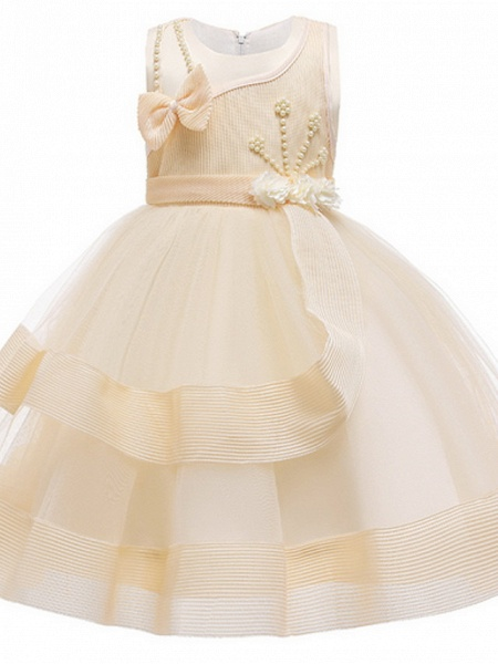 Ball Gown Ankle Length Pageant Flower Girl Dresses - Polyester Sleeveless Jewel Neck With Beading / Appliques_2