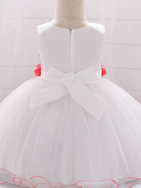 Ball Gown Floor Length Wedding / Party Flower Girl Dresses - Lace / Tulle Sleeveless Jewel Neck With Bow(S) / Tier / Appliques_5
