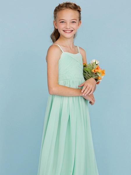Princess / A-Line Spaghetti Strap Floor Length Chiffon Junior Bridesmaid Dress With Criss Cross / Pleats / Wedding Party / Open Back_6