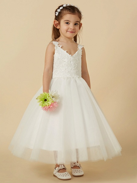 A-Line Knee Length Wedding / First Communion Flower Girl Dresses - Lace / Tulle Sleeveless V Neck With Bow(S)_3