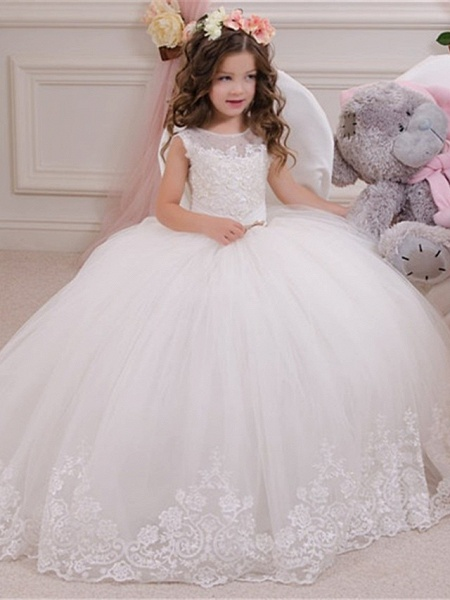 Princess / Ball Gown Sweep / Brush Train Wedding / Party Flower Girl Dresses - Lace / Tulle Sleeveless Jewel Neck With Bow(S) / Appliques / Paillette_1