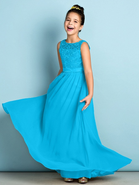 A-Line Scoop Neck Floor Length Chiffon / Lace Junior Bridesmaid Dress With Lace / Natural / Mini Me_33