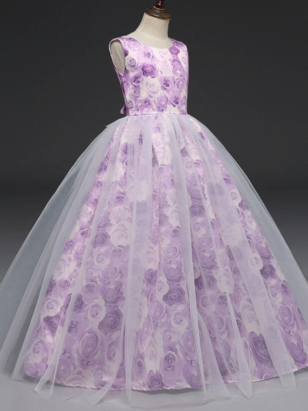 A-Line Floor Length Wedding / Party / Pageant Flower Girl Dresses - Tulle / Matte Satin Short Sleeve Jewel Neck With Bow(S)_2