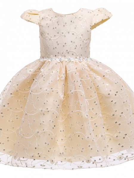 Princess / Ball Gown Knee Length Wedding / Party Flower Girl Dresses - Tulle Cap Sleeve Jewel Neck With Sash / Ribbon / Bow(S) / Embroidery_9