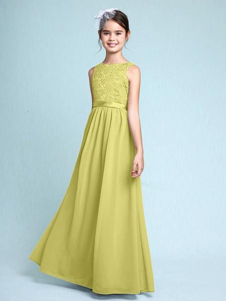 Sheath / Column Bateau Neck Floor Length Chiffon / Lace Junior Bridesmaid Dress With Lace / Natural_19