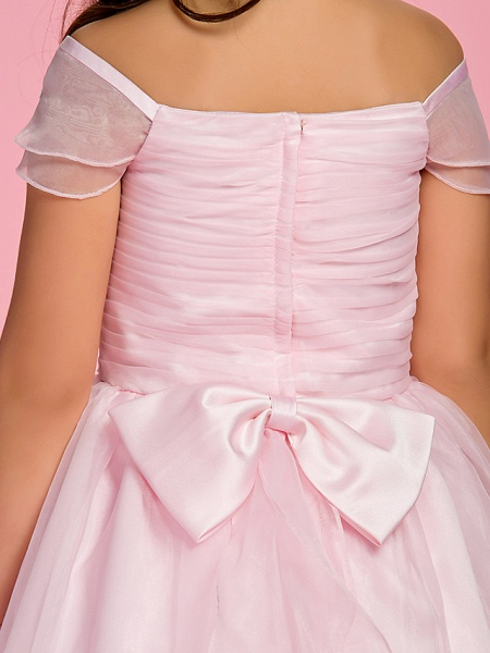 Princess / A-Line Ankle Length First Communion / Wedding Party Organza Short Sleeve Bateau Neck / Off Shoulder With Bow(S) / Ruched / Appliques / Spring / Summer / Fall_8