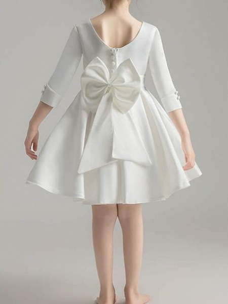A-Line Knee Length First Communion Flower Girl Dresses - Polyester 3/4 Length Sleeve V Neck With Bow(S) / Pleats_9