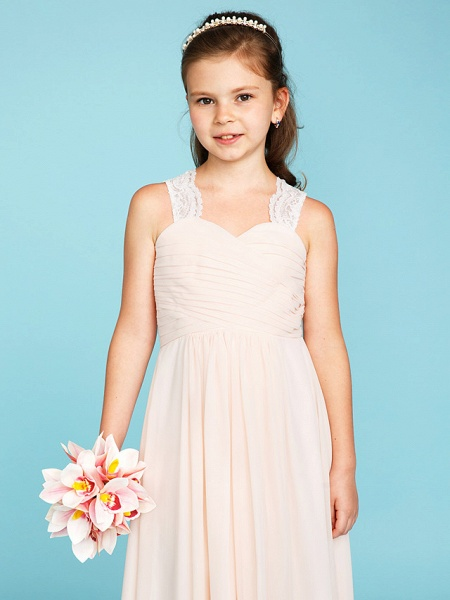 Princess / A-Line Strap Floor Length Chiffon / Lace Junior Bridesmaid Dress With Ruched / Side-Draped / Wedding Party_5