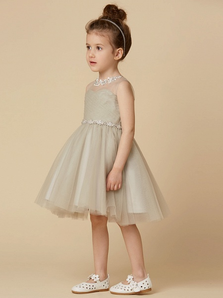 Princess Knee Length Pageant Flower Girl Dresses - Satin Sleeveless Scoop Neck With Sash / Ribbon / Criss Cross / Appliques_3