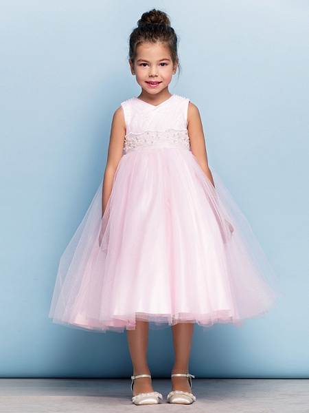 Ball Gown Tea Length Party / Holiday / Cocktail Party Flower Girl Dresses - Tulle Sleeveless V Neck With Criss Cross / Pearls / Beading / Formal Evening / Mini Me_6