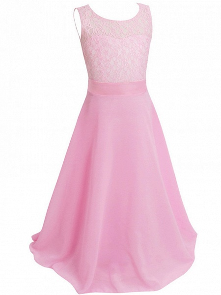 Princess / Ball Gown Maxi Party / Formal Evening / Pageant Flower Girl Dresses - Tulle / Poly&Cotton Blend Sleeveless Jewel Neck With Lace / Solid_24