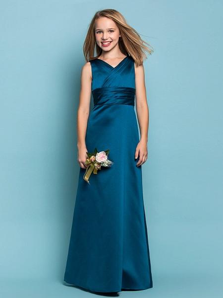 Sheath / Column V Neck Floor Length Satin Junior Bridesmaid Dress With Sash / Ribbon / Criss Cross / Ruched / Spring / Summer / Fall / Apple / Hourglass_1
