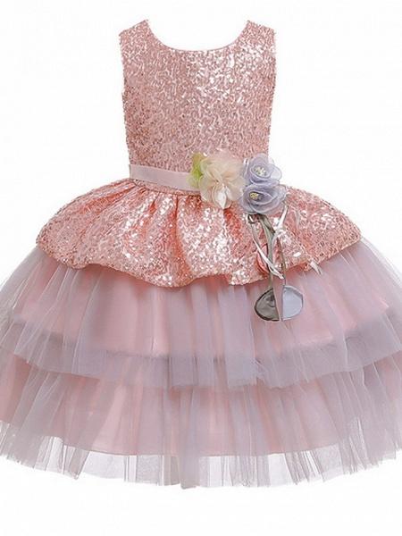 Ball Gown Floor Length Birthday / Formal Evening Flower Girl Dresses - Polyester Sleeveless Jewel Neck With Sash / Ribbon / Paillette_1