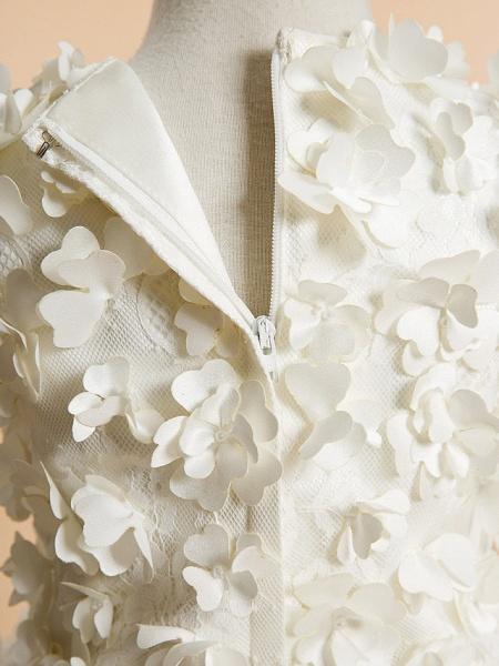 A-Line Tea Length Wedding / First Communion Flower Girl Dresses - Lace Sleeveless Jewel Neck With Flower_5
