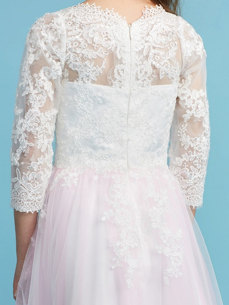 Princess / A-Line Crew Neck Floor Length Lace Junior Bridesmaid Dress With Lace_9