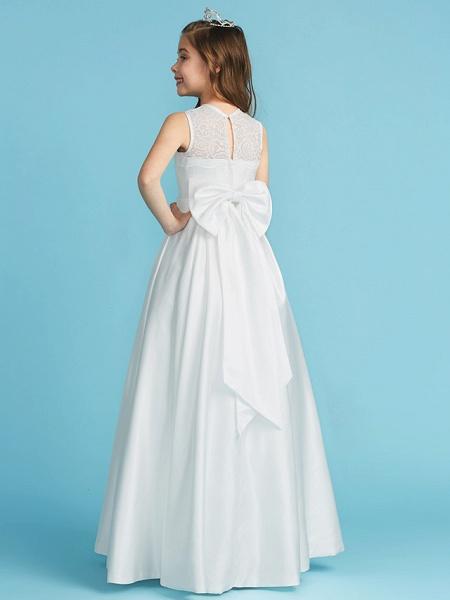 Princess / A-Line Jewel Neck Floor Length Lace / Satin Junior Bridesmaid Dress With Lace / Bow(S) / Pleats_2