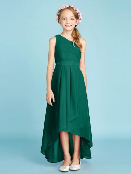 A-Line One Shoulder Asymmetrical Chiffon Junior Bridesmaid Dress With Sash / Ribbon / Bow(S) / Side Draping / Natural_29