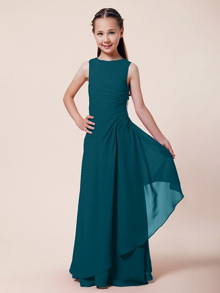 A-Line / Sheath / Column Bateau Neck Floor Length Chiffon Junior Bridesmaid Dress With Beading / Side Draping / Spring / Summer / Fall / Winter / Wedding Party_31