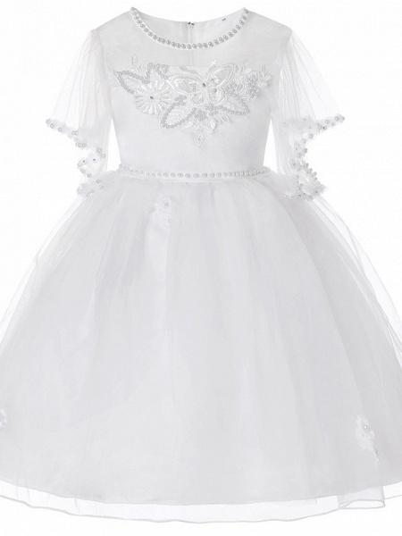 Princess Midi Wedding / Birthday Satin / Tulle Sleeveless Jewel Neck With Bow(S) / Pearls / Beading_9