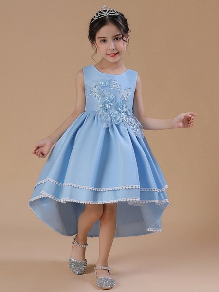 A-Line Asymmetrical Wedding / Party Flower Girl Dresses - Satin Chiffon Sleeveless Jewel Neck With Bow(S) / Appliques