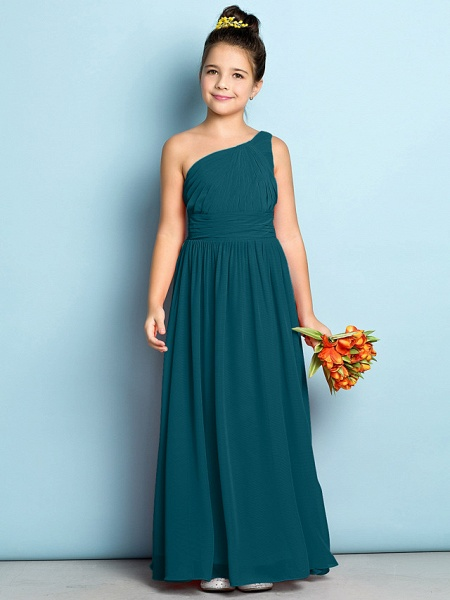 A-Line One Shoulder Ankle Length Chiffon Junior Bridesmaid Dress With Side Draping / Natural / Mini Me_34