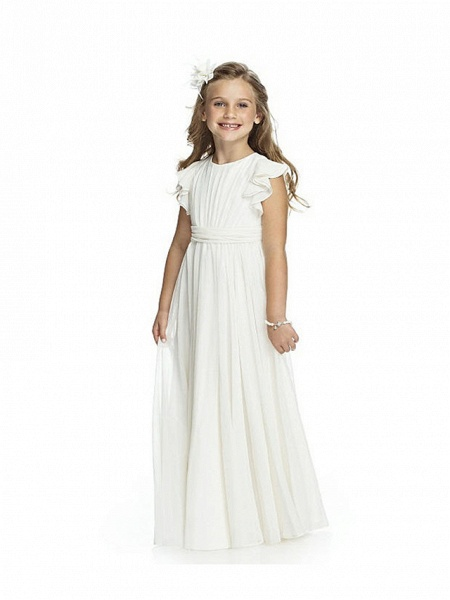 Sheath / Column Long Length Wedding / Birthday / Pageant Flower Girl Dresses - Chiffon Short Sleeve Jewel Neck With Cascading Ruffles / Ruching_1