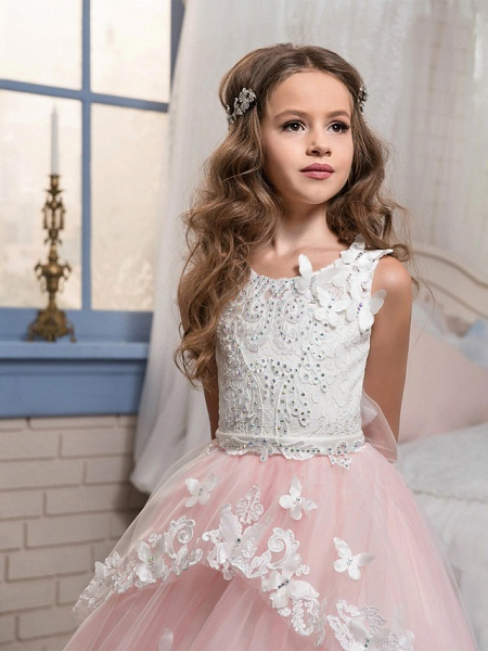 Princess Sweep / Brush Train Party / Birthday / Pageant Flower Girl Dresses - Cotton / Nylon With A Hint Of Stretch / Lace / Tulle Sleeveless Jewel Neck With Lace / Bow(S) / Appliques_6