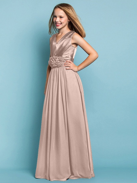 Sheath / Column V Neck Floor Length Chiffon Junior Bridesmaid Dress With Flower / Spring / Summer / Fall / Apple / Hourglass_18
