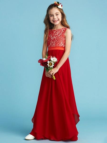Sheath / Column Jewel Neck Floor Length Chiffon / Lace Junior Bridesmaid Dress With Sash / Ribbon / Appliques_4