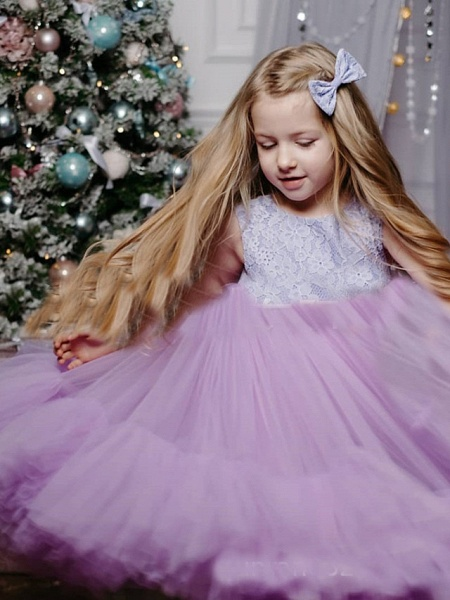 Princess / A-Line Floor Length Party / Birthday Flower Girl Dresses - Tulle Sleeveless Jewel Neck With Lace / Splicing_2
