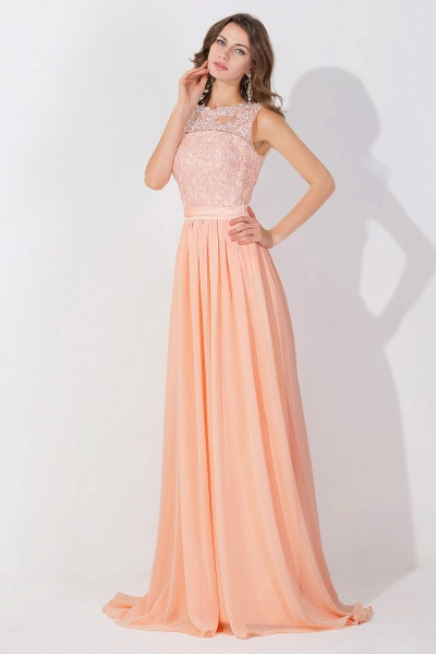 Lace Chiffon Long A-line Backless Evening Gown_4