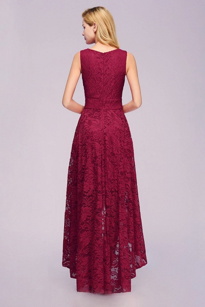 Elegant A-line Sleeveless Crew Hi-lo Lace Dress_6