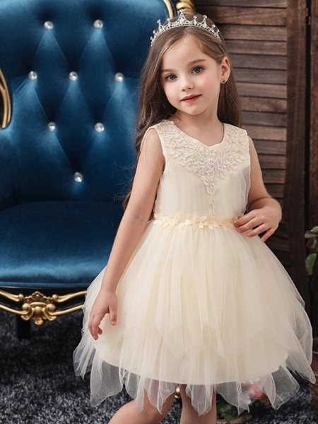 Princess / Ball Gown Short / Mini Wedding / Party Flower Girl Dresses - Tulle Sleeveless Jewel Neck With Sash / Ribbon / Appliques_1