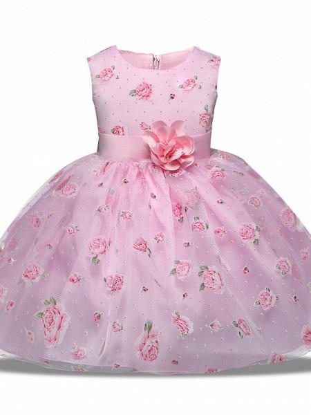 Princess Midi Wedding / Party Satin / Tulle Sleeveless Jewel Neck With Bow(S) / Tier / Pattern / Print_1