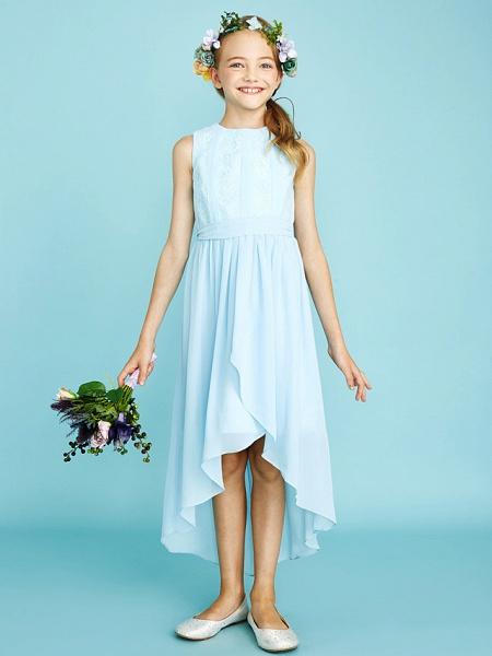Sheath / Column Jewel Neck Asymmetrical Chiffon / Lace Junior Bridesmaid Dress With Pleats / Natural_6