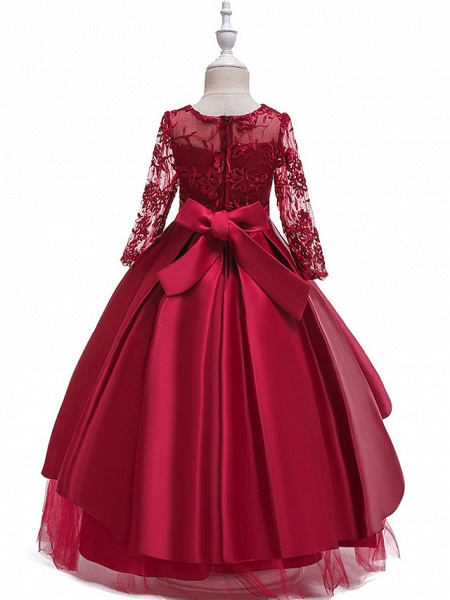 Ball Gown / A-Line Maxi Wedding / Formal Evening / Pageant Flower Girl Dresses - Cotton Blend / Lace 3/4 Length Sleeve Jewel Neck With Lace / Sash / Ribbon / Pleats_3