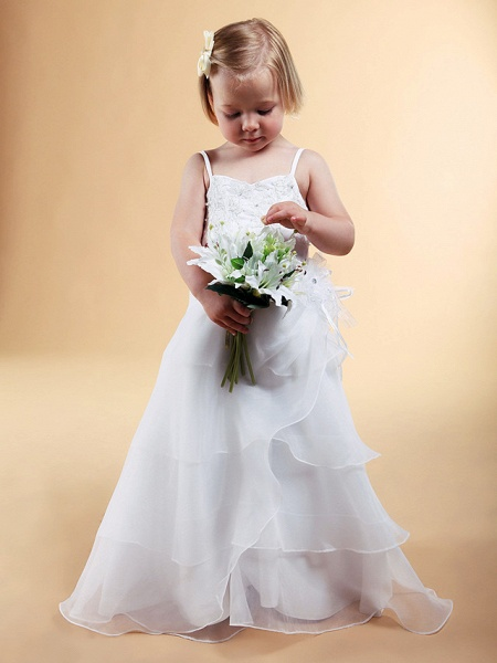 Princess / A-Line Floor Length Wedding Party Organza / Satin Sleeveless Spaghetti Strap With Appliques / Flower / Spring / Summer / Fall / Winter_6