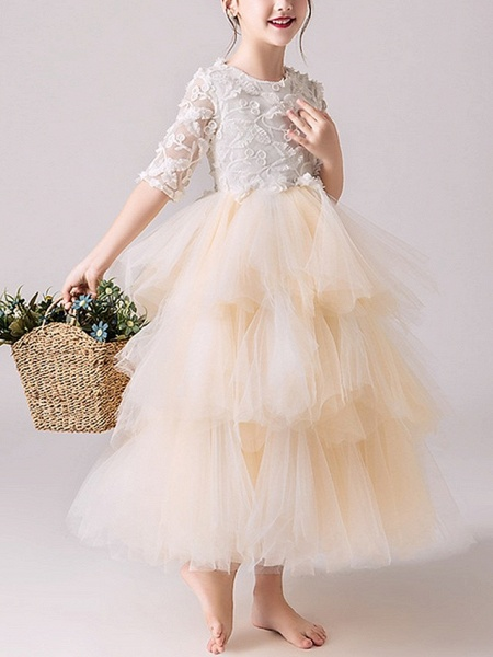 Ball Gown Ankle Length Pageant Flower Girl Dresses - Tulle Half Sleeve Jewel Neck With Tier / Appliques_2