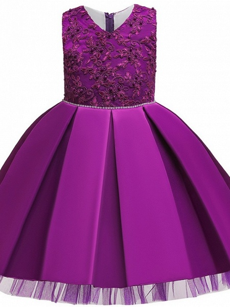 Princess / Ball Gown Knee Length Wedding / Party Flower Girl Dresses - Tulle Sleeveless V Neck With Sash / Ribbon / Bow(S) / Appliques_4