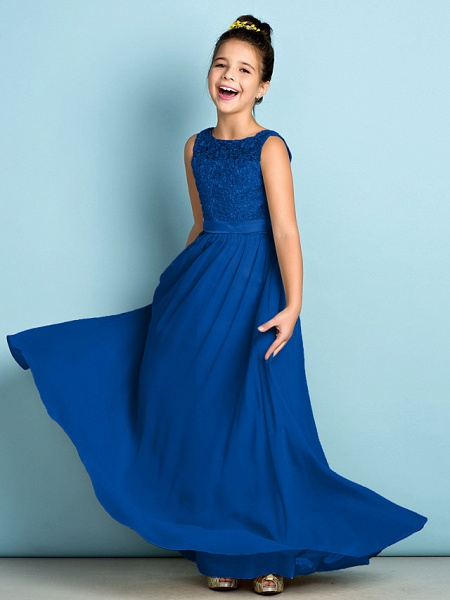 A-Line Scoop Neck Floor Length Chiffon / Lace Junior Bridesmaid Dress With Lace / Natural / Mini Me_35